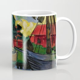 Boats in the Harbor by Hermann Max Pechstein Coffee Mug