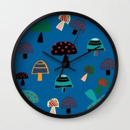 Cute Mushroom Blue Wall Clock