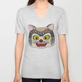 Japanese cat on pink faded enlightments Unisex V-Neck