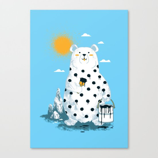 polka bear Canvas Print