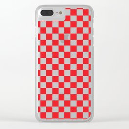 Red Checkerboard Pattern Clear iPhone Case