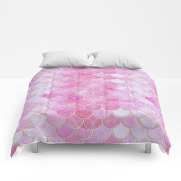 Pink Pearlescent Mermaid Scales Pattern Comforters