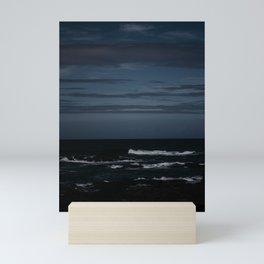 Ocean waves at night in moonlight Mini Art Print