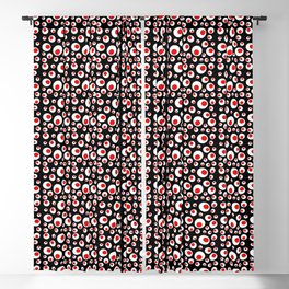 Abstract Geometric Bright Red White Circles on Black Blackout Curtain