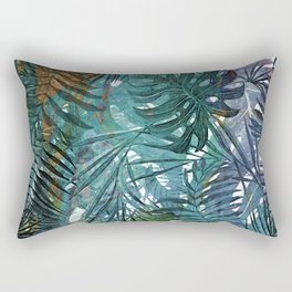 Aloha - Tropical Palm Leaves and Monstera Leaf Garden Rectangular Pillow
