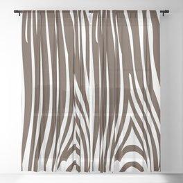Zebra Stripes | Animal Print | Chocolate Brown and White | Sheer Curtain