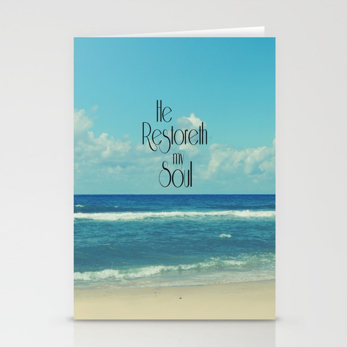 he restoreth my soul bible verse with beach stationery cards by