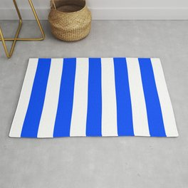 Blue (RYB) - solid color - white stripes pattern Rug