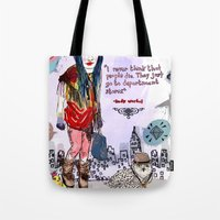 saga Tote Bags featuring Department Store Saga by Olive Primo Design + Illustration