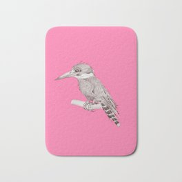 pink kingfisher bird Bath Mat
