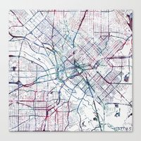 Canvas Prints featuring Dallas map by MapMapMaps.Watercolors