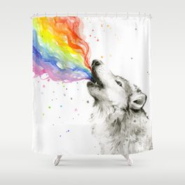 Wolf Howling Rainbow Watercolor Shower Curtain