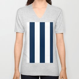 Wide Vertical Stripes - White and Oxford Blue Unisex V-Neck