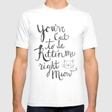 Right Meow White Mens Fitted Tee MEDIUM