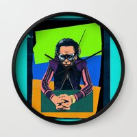 miles davis Wall Clocks featuring Davis by Nope