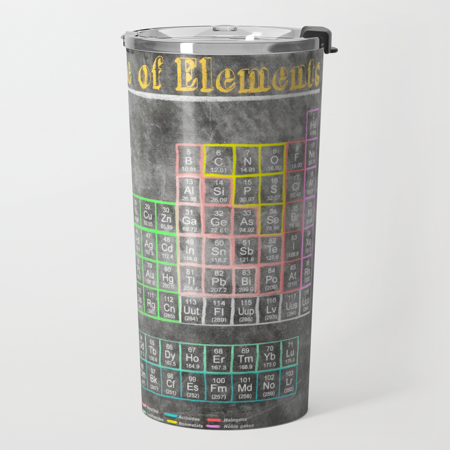 Old School Periodic Table Of Elements Chalkboard Style Travel Mug