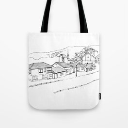 town in the mountains Tote Bag