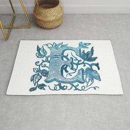 Letter E Antique Floral Letterpress Monogram Rug