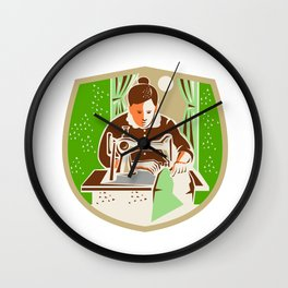 Seamstress Dressmaker Sewing Shield Retro Wall Clock
