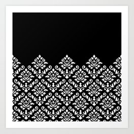 Damask Baroque Part Pattern White on Black Art Print