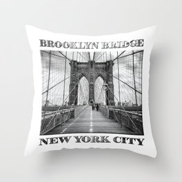 Brooklyn Bridge New York City (black & white poster edition) Throw Pillow