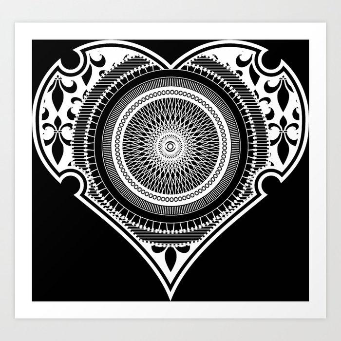 Modern Heart Shape Mandala Art Design Art Print By Imaginationandinspiration