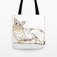 corgi Tote Bags featuring Corgi!!!! by katieWalkerDesigns