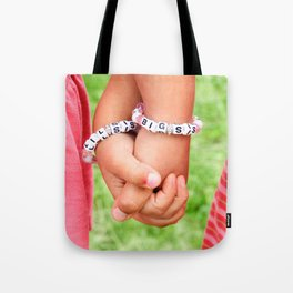 Big Sis & Lil Sis Holding Hands Tote Bag