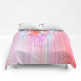 Abstract Cascade Glitch 2.Red and Pink Comforters