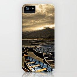 Boats on Phewa Lake, Pokhara, Nepal iPhone Case