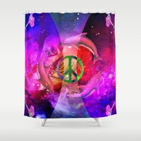 hologram Shower Curtains featuring BUDDHA by Riot Clothing