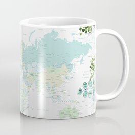 Mint and green floral world map with cities Coffee Mug