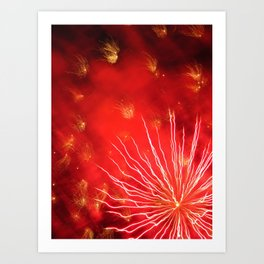red starburst fireworks Art Print