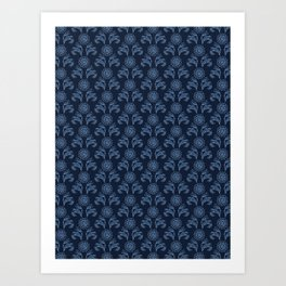 Indigo blue flower motif Japanese style. Art Print