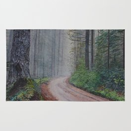 Misty Forest Mountain Path Rug