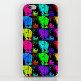 Colorful Pop Art Dachshund Doxie Face Closeup Tiled Image iPhone Skin
