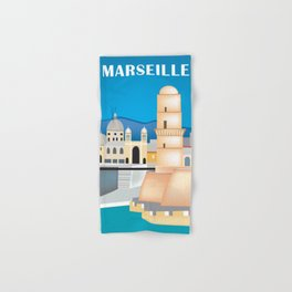 Marseille, France - Skyline Illustration by Loose Petals Hand & Bath Towel