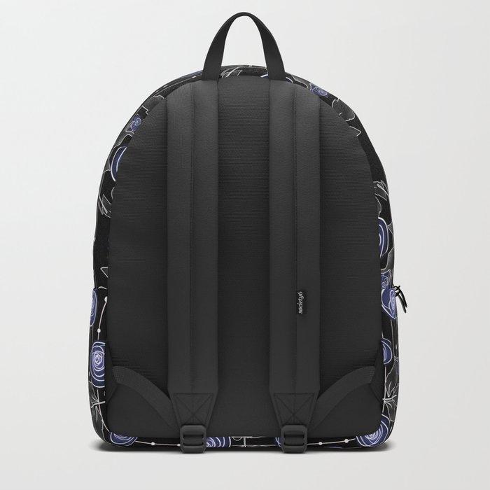 Blue roses on black background Backpack