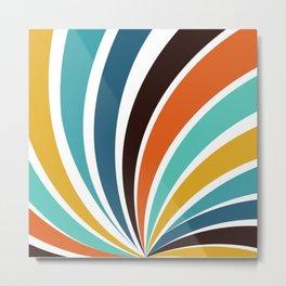 Funky Geometric Bright Yellow Orange Brown Teal Blue Colorful 70s retro stripes Metal Print