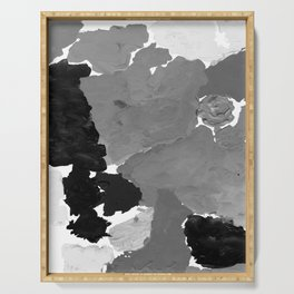 Xelli - abstract black and white minimal modern painting home decor dorm college canvas painting Serving Tray