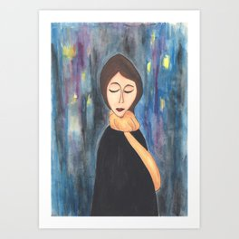 City Lights Girl Art Print