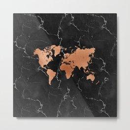 World Map - Rose Gold on Black Marble Metal Print