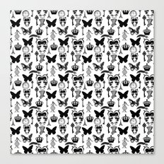 Black and White Vintage Collage Canvas Print