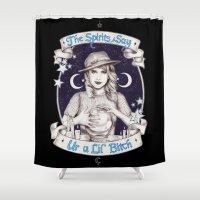 ahs Shower Curtains featuring Mystic Miss Maggie Esmerelda (b&w) by marziiporn