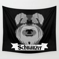 schnauzer Wall Tapestries featuring Schnauzer by mailboxdisco