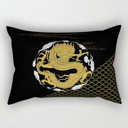Traditional Gold Dragon Rectangular Pillow