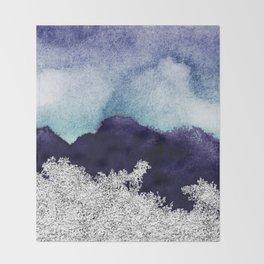 Silver foil on blue indigo paint Throw Blanket