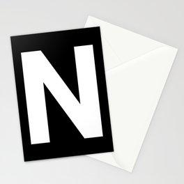 Letter N (White & Black) Stationery Cards