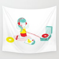 vinyl Wall Tapestries featuring Vinyl by Samantha Eynon