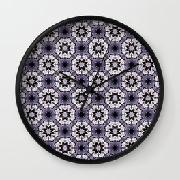 Plum White and Black Digital Flower Pattern Wall Clock